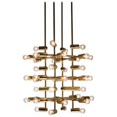 Set of 21 Large Brass Chandeliers with Forty Bulbs