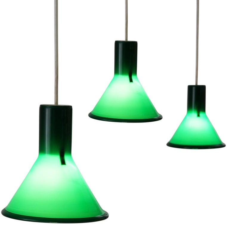 Three Michael Bang for Holmegaard Green Pendants
