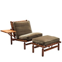 Ilmari Tapiovaara Leather Lounge Chair and Ottoman with Velvet