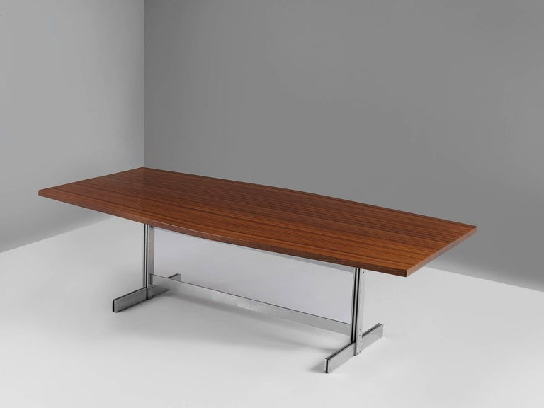 Jules Wabbes, 'tonneau' conference table, wenge and metal, Belgium, 1960s   This large table by Jules Wabbes. The model 'Tonneau', that translates as barrel features a solid wenge wooden top, made out of tangentially-sawn wenge slats. The table