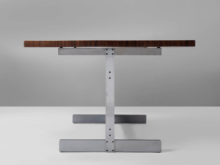 Belgian Jules Wabbes 'Tonneau' Table in Solid Wenge For Sale