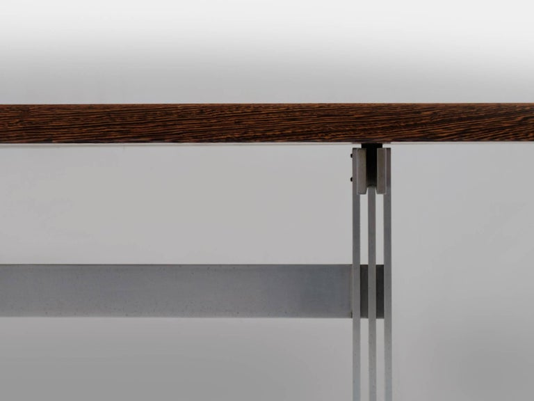 Metal Jules Wabbes 'Tonneau' Table in Solid Wenge For Sale