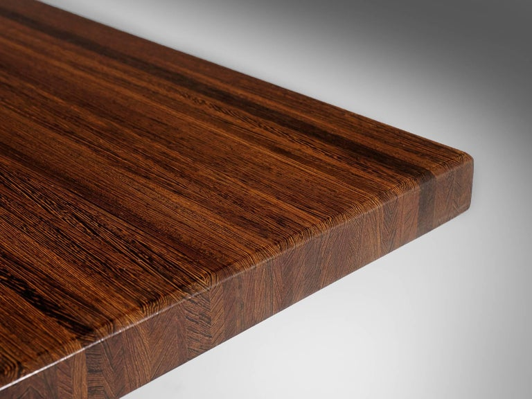 Jules Wabbes 'Tonneau' Table in Solid Wenge For Sale 2