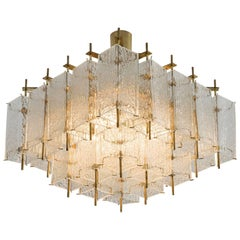 Square Chandelier in Structured Glass and Brass, 1970s