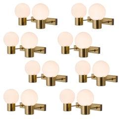Set of Eight Brass Wall Lights
