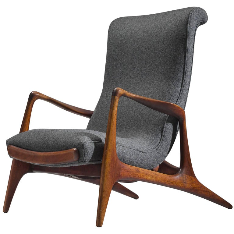 Vladimir Kagan Teak and Grey Fabric 'Contour' Chair
