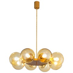 Solid Brass Chandelier with Yellow Spheres