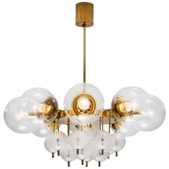 Large Chandelier with Brass and Glass Bulbs
