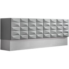 Brutalist Sideboard in Soft Grey and Aluminum, circa 1970