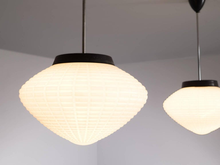 European Set of Three Pendants with Structured Opaline Glass Shades For Sale