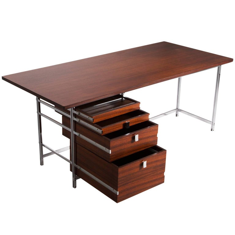Jules Wabbes Desk in Rosewood and Chrome