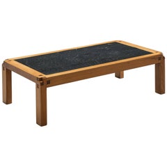 Pierre Chapo Elm and Lava Stone Coffee Table