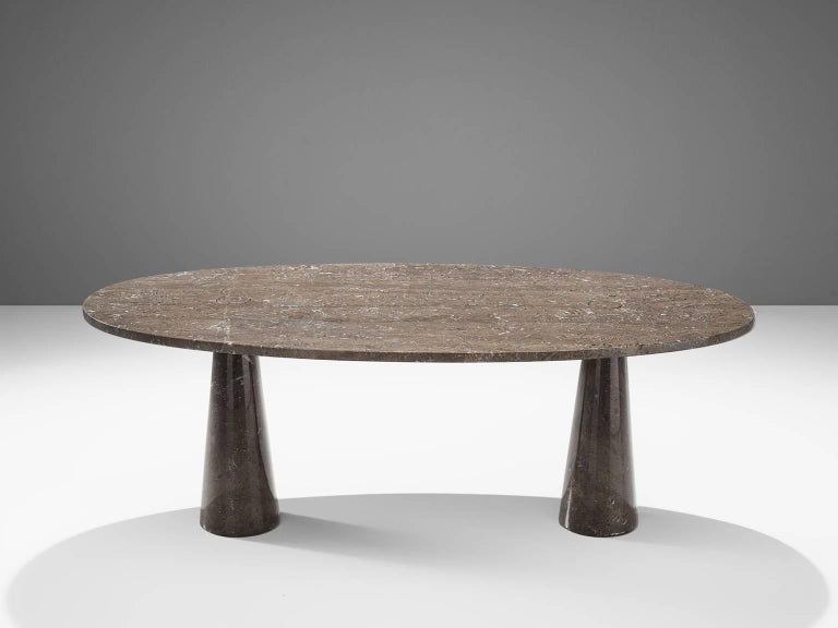 Post-Modern Angelo Mangiarotti Oval 'Eros' Marble Dining Table For Sale
