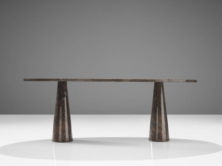 Italian Angelo Mangiarotti Oval 'Eros' Marble Dining Table For Sale