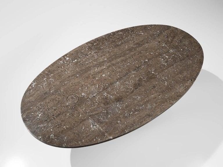 Late 20th Century Angelo Mangiarotti Oval 'Eros' Marble Dining Table For Sale