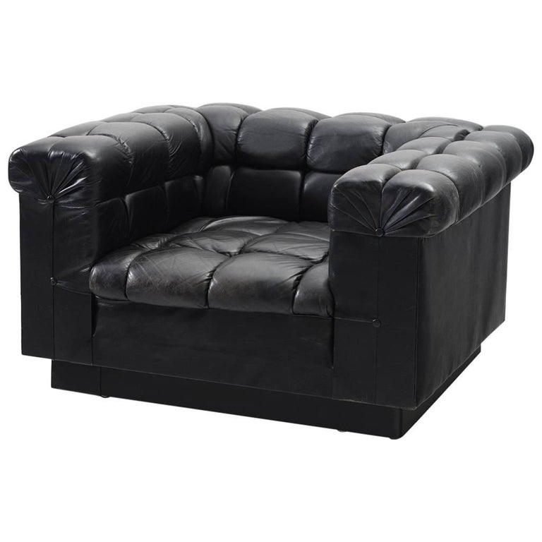 Edward Wormley Tufted Club Chair in Black Leather for Dunbar