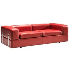 Tito Agnoli for Cinova Sofa Bed in Red Leatherette and Steel