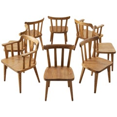 Set of Eight Dining Chairs in Pine
