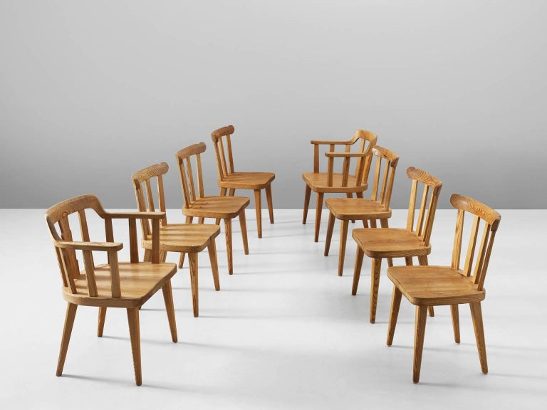 Scandinavian Modern Set of Eight Dining Chairs in Pine For Sale