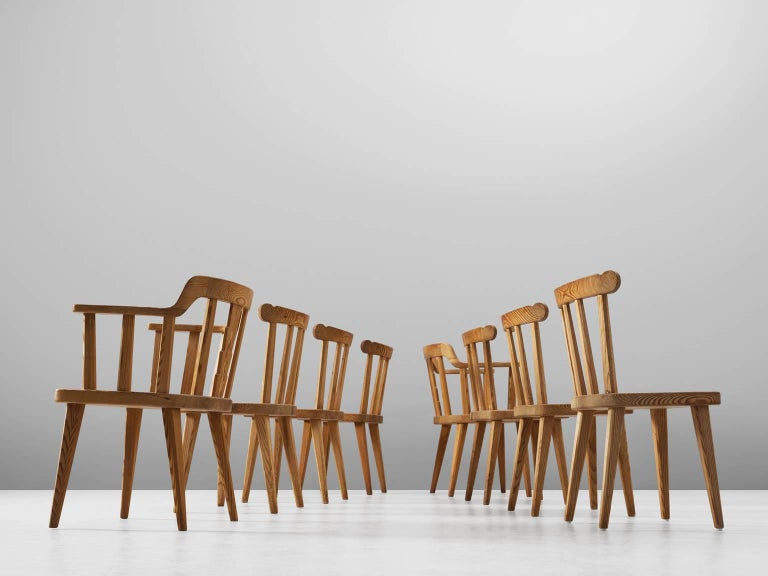 Swedish Set of Eight Dining Chairs in Pine For Sale