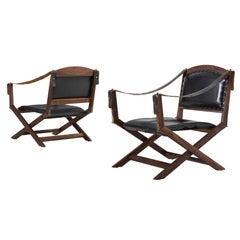 Set of Two Safari X-Chairs in Black Leather