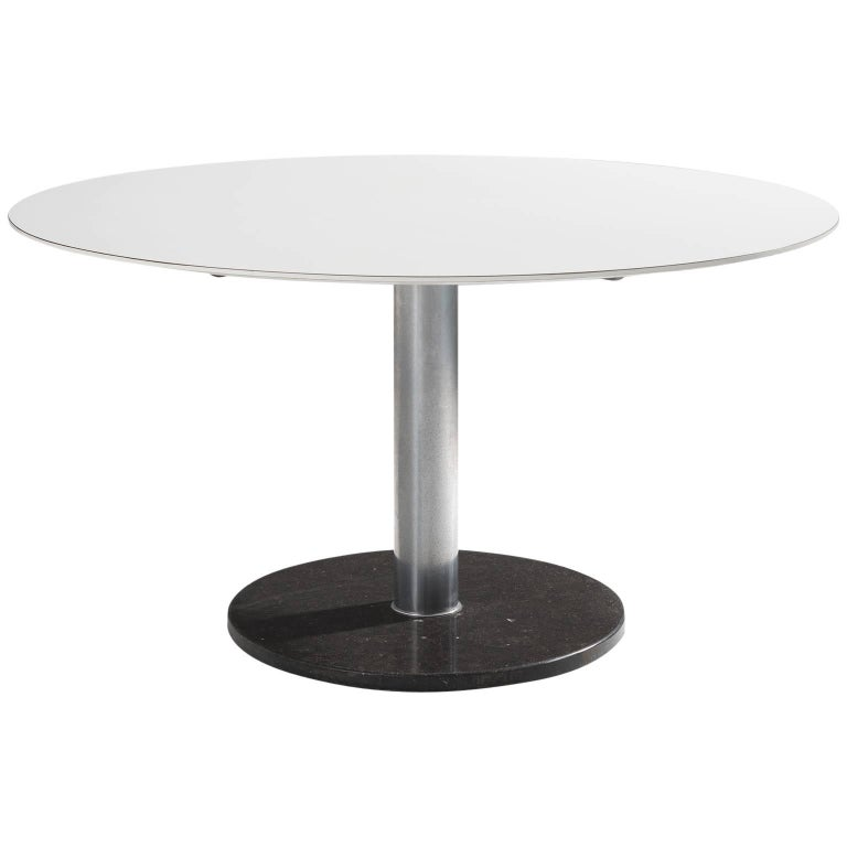 Alfred Hendrickx White Round Pedestal Dining Table with Marble