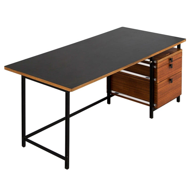 Jules Wabbes Early Black Steel and Dark Teak Desk for Mobilier Universel