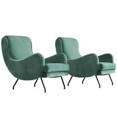 Newly Upholstered Velvet French Lounge Chairs, 1950s
