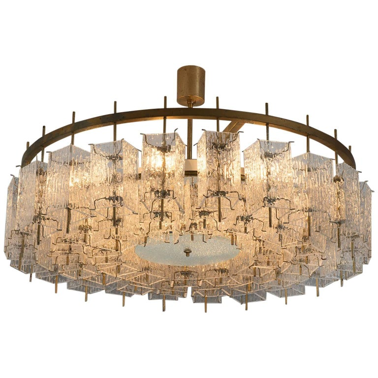 Chandelier in Brass and Structured Glass