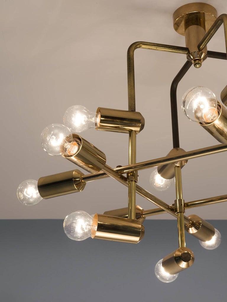 Swiss Chandelier in Brass, 1960s In Good Condition For Sale In Waalwijk, NL