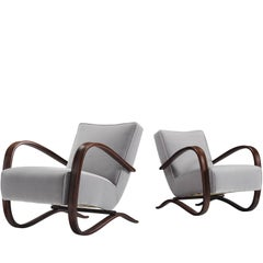Jindrich Halabala Lounge Chairs in Reupholstered with Grey Velvet