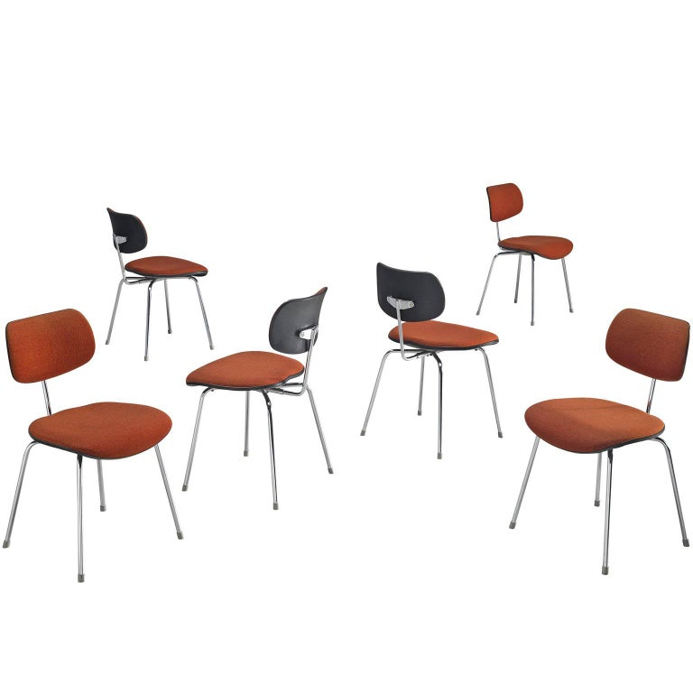 Egon Eiermann Set of Six Steel Dining Chairs For Sale