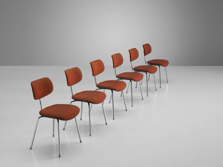 Mid-Century Modern Egon Eiermann Set of Six Steel Dining Chairs For Sale