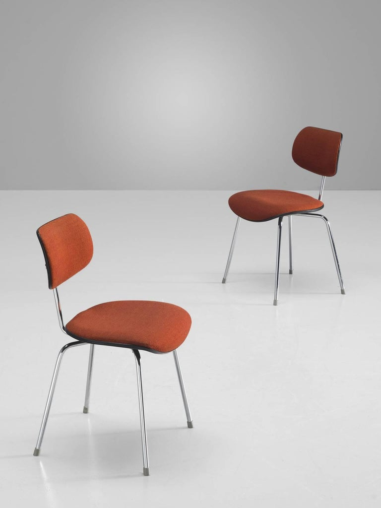 Egon Eiermann Set of Six Steel Dining Chairs In Good Condition For Sale In Waalwijk, NL
