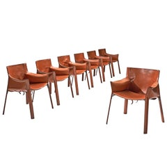 Giancarlo Vegni for Fasem Set of Seven Patinated Leather Chairs