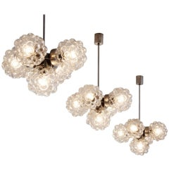 Large Set of Chandeliers with Structured Glass by H. Tynell