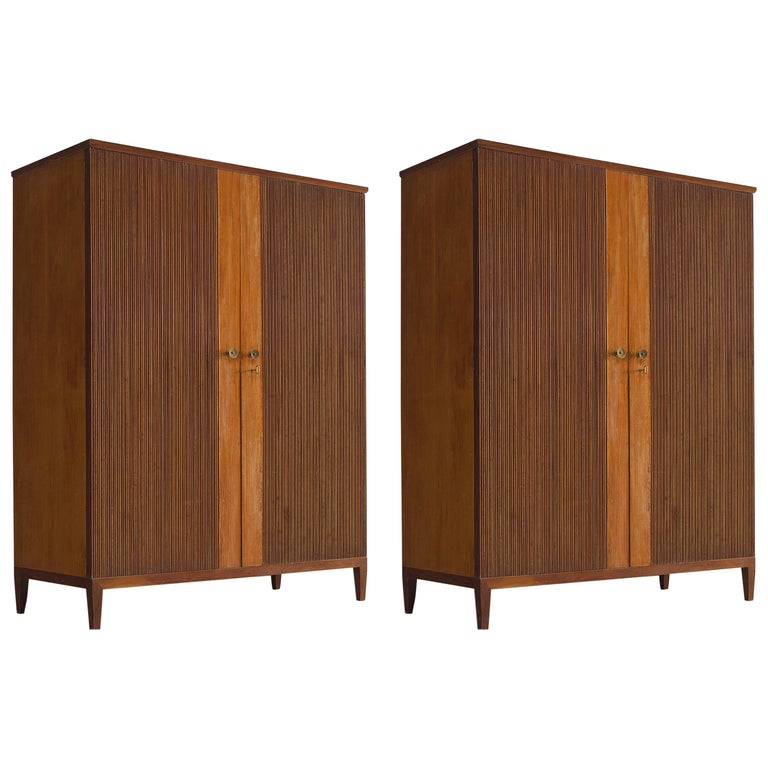Pair of Midcentury Ribbed Chests with Brass Details