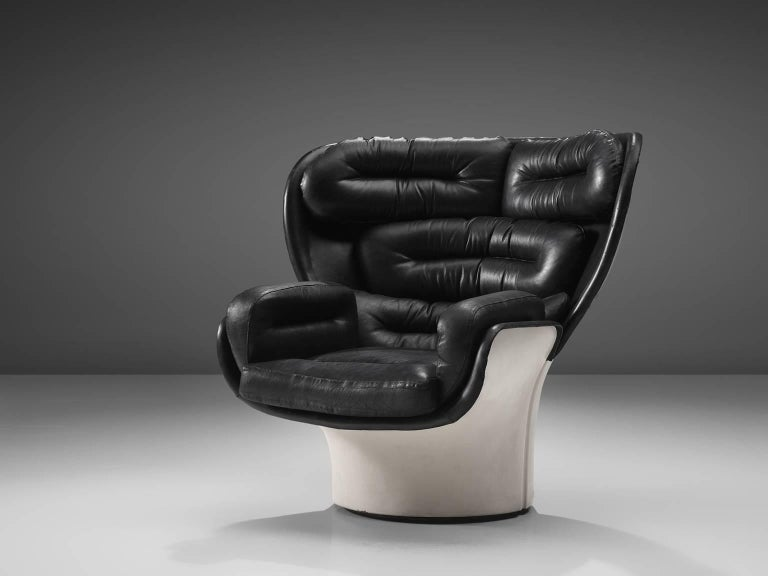 Joe Colombo for Comfort, lounge chair model Elda, fiberglass and leather, Italy, design 1963, later production.   This 'Elda' armchair features its original black leather upholstery. The leather is in very good condition. This design is one of the