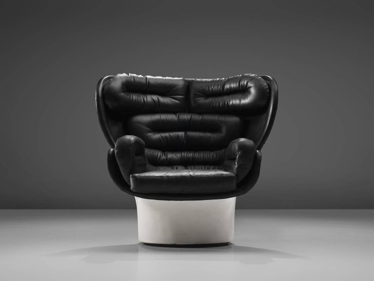 Mid-Century Modern Joe Colombo 'Elda' Black Leather Lounge Chair For Sale