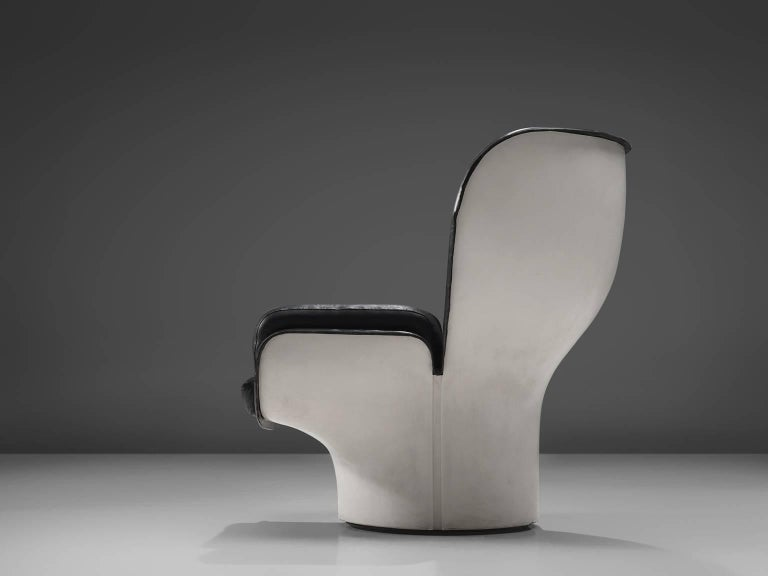 Italian Joe Colombo 'Elda' Black Leather Lounge Chair For Sale