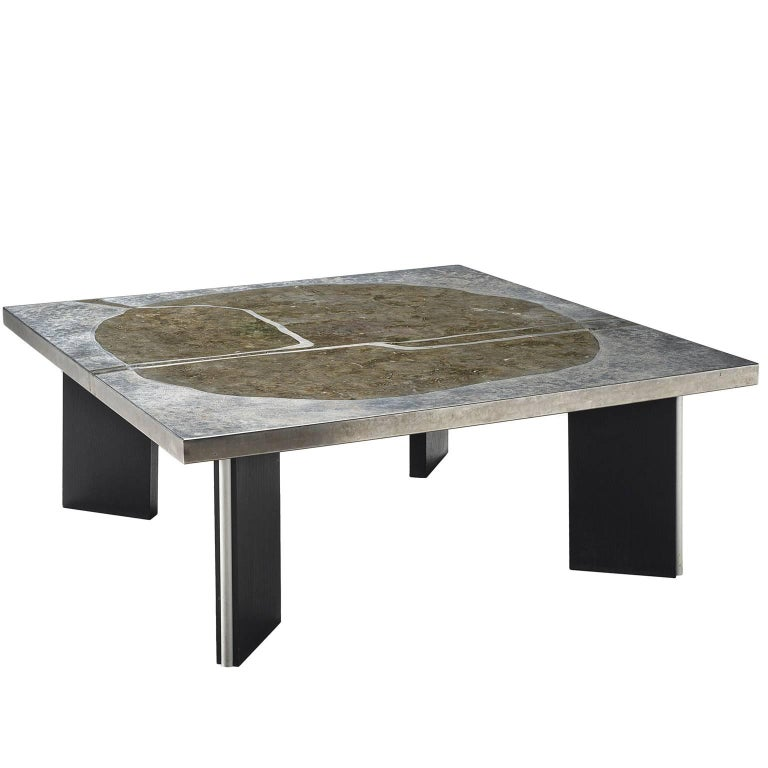 Metal And Stone Coffee Table Circa 1970 For Sale At 1stdibs
