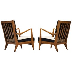 Gio Ponti for Cassina Pair of 'Model 516' Lounge Chairs in Walnut