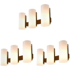 Three Sten Carlquis Swedish Wall Lights in Brass and Wood