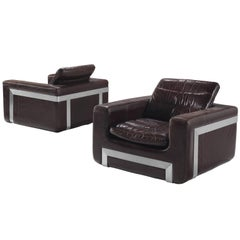 Roche Bobois Set of Two 'San Pietro' Original Leather Armchairs