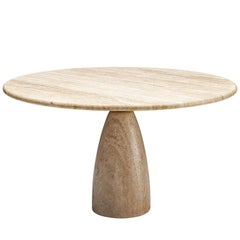 Peter Draenert Round Travertine Dining Table