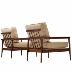 Edmond J. Spence Set of Mahogany Lounge Chairs, 1950s