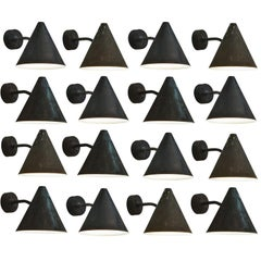 Hans-Agne Jakobsson Set of 16 Patinated Solid Copped Wall Lights