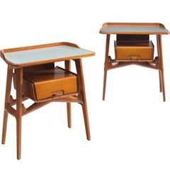Italian Cabinetmaker Pair of Nightstands, circa 1950