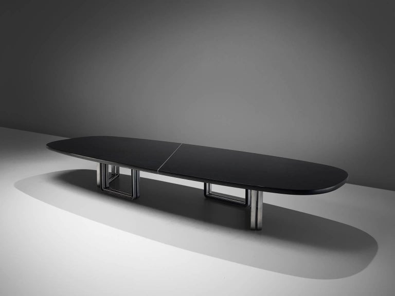 Tecno Design Centre for Tecno, lacquered black wood and aluminum base, conference table 335a, Italy, 1975-1978.