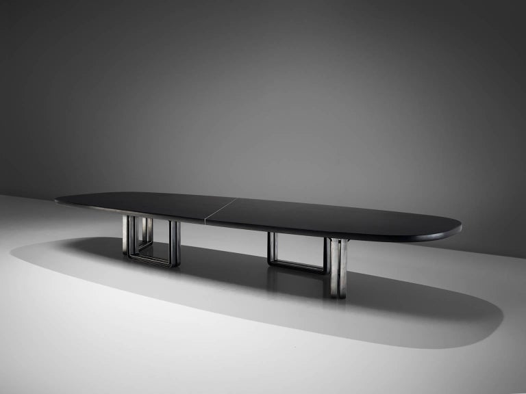 Mid-Century Modern Tecno Design Centre Large Black Table For Sale